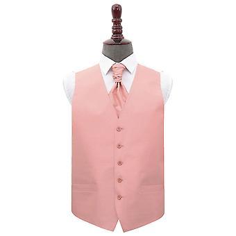 Peach Pink Plain Shantung Wedding Waistcoat & Cravat Set
