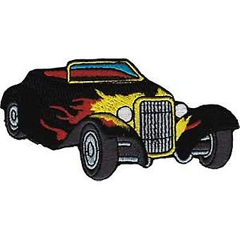 Patch - Automoblies - Black Roadster with Flames Iron On Gifts New Licensed p-3785