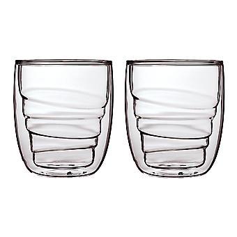 QDO elementen hout Set van 2 glazen kleine