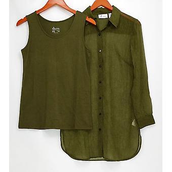 Denim & co. kvinner ' s topp XXS vevd se ut skjorte med tank grønn A291632