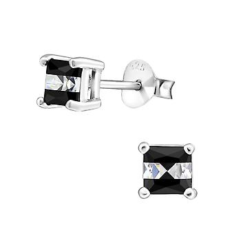 Square - 925 Sterling Silver Cubic Zirconia Ear Studs - W33173X
