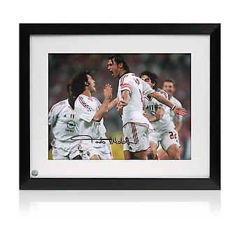 Paolo Maldini Signed AC Milan Football Photo: Champions League Goal. Framed