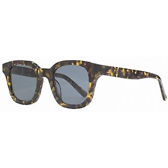 French Connection Premium Chunky Square Flat Sunglasses - Black/Brown