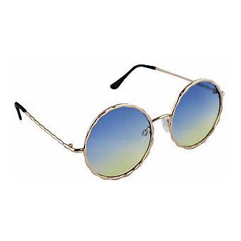 Sunglasses UV 400 Round gold blue halfHL207_1
