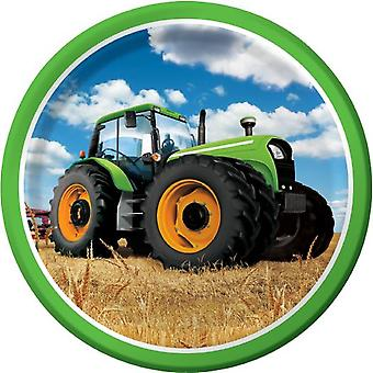 Tractor Party plate 23cm cardboard plate 8 piece farm party Trecker children's birthday