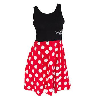 Minnie Mouse Women's Black And Red Polka Dot Dress