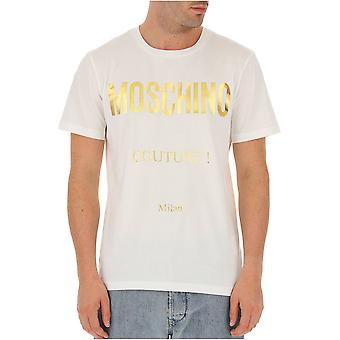 ZJ0707 guld logo bomuld T-shirt - Moschino