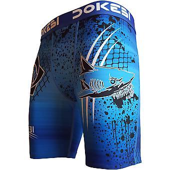 Dokebi Shark BJJ Compression Shorts - Blu