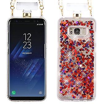 Galaxy S8 Plus için Hearts & Magenta Quicksand Glitter Diamante Parfüm Şişe Koruyucu Kapak (w/ Zincir)