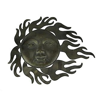 Vintage Grey Metal Art Celestial Sun Indoor Outdoor Wall Decor Sculpture
