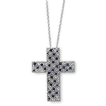 925 Sterling Silver Polished Spring Ring September CZ Cubic Zirconia Simulated Diamond Religious Faith Cross Necklace 18