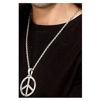 '60s Peace Sign Hippie Medallion, Silver, with 44cm Chain Fancy Dress Accessory