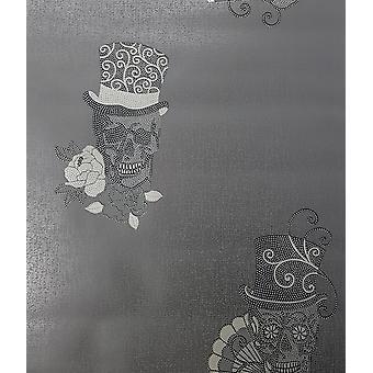 Cráneos papel pintado brillo efecto brillo metálico texturizado Rasch de 3 colores de vinilo