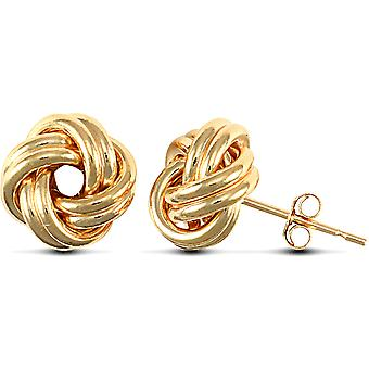 Jewelco London Ladies 9ct Yellow Gold Love Knot Stud Earrings