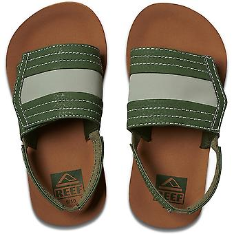 Reef Little Ahi Slide Sliders in Tan/Olive