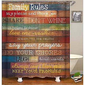 Family Rules Wooden Deck Shower Curtain