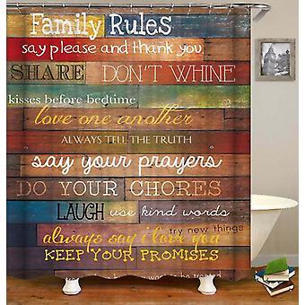 Reglas de la familia Cortina de ducha de la cubierta de madera