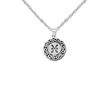 "Celtic Zodiac Necklace Pendant - The Astrological Sign Pisces - Includes A 20"" Silver Chain"