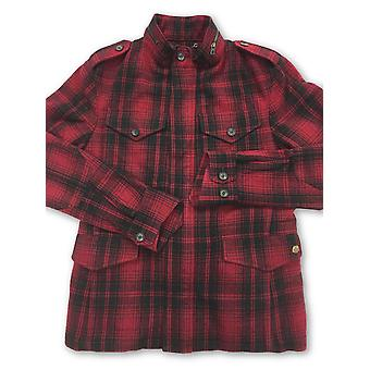 Strellson quilted shirt jacket in red and black check wool
