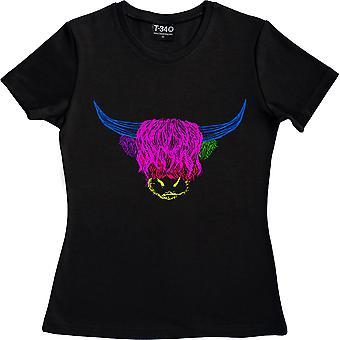 Psychedelic Cattle Variant Three Black Women's Camiseta