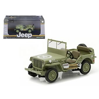 1944 Jeep Willys C7 U.S. Army Green with Star on Hood 1/43 Diecast Model Car par Greenlight