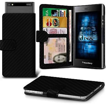 BlackBerry spranget skinn universell fjær klemme lommebok tilfelle kort sporholder (carbon black)
