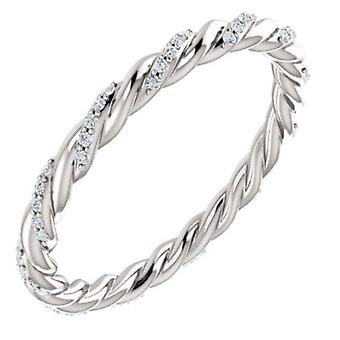 14k White Gold Polished 0.13 Dwt Diamond Rope Eternity Band Ring Jewelry Gifts for Women - Ring Size: 6 to 7
