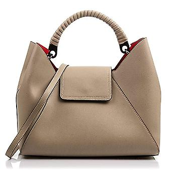 FIRENZE ARTEGIANI Real Leather Women's Bag. Genuine Pamelato luxury leather handbag. Leather-lined design handle. Made in ITALY. REAL ITALIAN PELLE 24x13x10 cm. Color: TAUPE