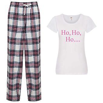 Señoras Ho Ho Ho Navidad Tartán Pantalón Pijama