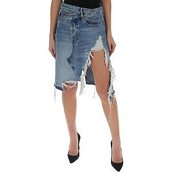R13 R13w7192485 Women's Light Blue Cotton Skirt