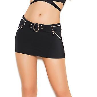 Womens Buckle Front Zipper Lycra Mini Skirt
