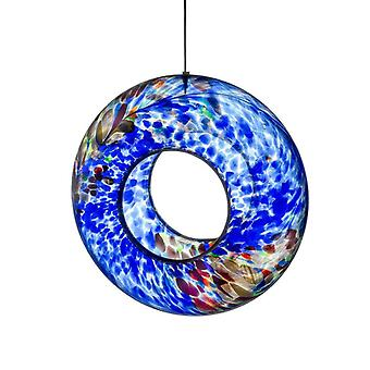 Sienna Glass Hanging Bird Feeder, Blue
