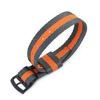 Strapcode n.a.t.o حزام ووتش 20mm miltat raf n7 حزام مراقبة الناتو، الرمادي والبرتقالي، pvd أسود سلم قفل المنزلق مشبك