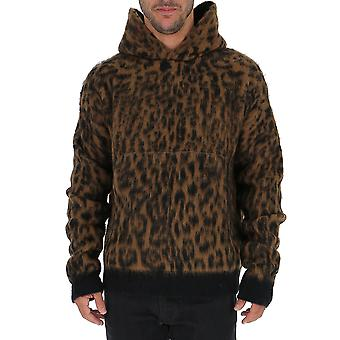 Laneus Cpu512cc22var1 Men's Leopard Nylon Sweater