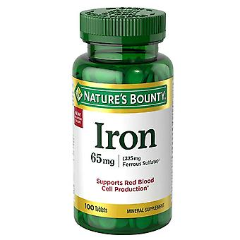 Nature's bounty ijzer, 65 mg, tabletten, 100 ea