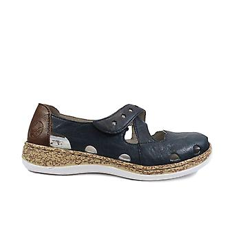 Rieker 46356-14 Navy Leather Womens Rip Tape Summer Shoes