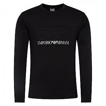 EA7 Emporio Armani Black Crew Neck Logo Sweatshirt 3HPM30 PJ05Z