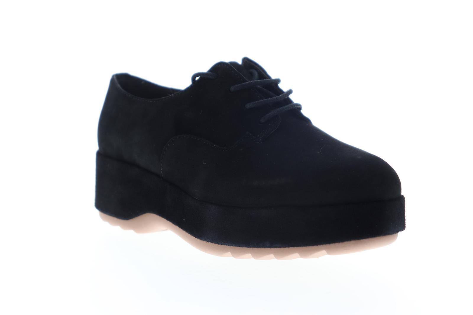 Camper Dessa Womens Black Nubuck Leather Lace Up Oxford Flats Buty L0TII