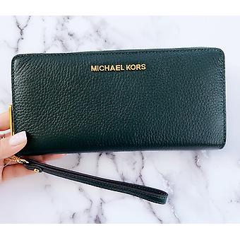 Michael kors jet set travel continental wristlet racing green pebbled leather