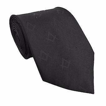 Masonic masons silk tie with self print square compass black
