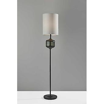 Black Wood Smoked Glass Floor Lamp with Lightly Textured Round Shade