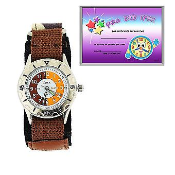 Boxx Time Teacher Brown Army Camouflage Easy Fasten Strap + Telling Time Award