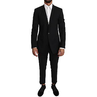 Black wool stretch gold 2 piece suit