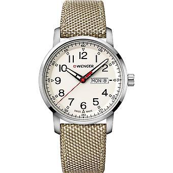 Wenger Attitude Heritage Quartz Cream Dial Brown Nylon Strap Mens Watch 01.1541.112