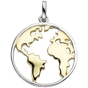 Naisten riipus maailmankartta 925 sterling hopea bicolor kullattu