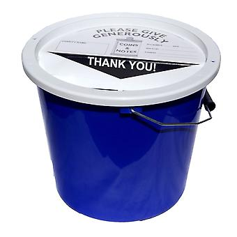 4 Charity Money Collection Buckets 5.7 Litres - Blue