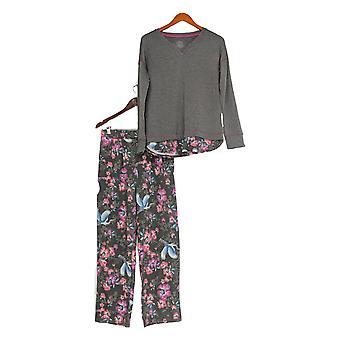Cuddl Duds Women's Pajama Set Comfortwear Novelty Gray A310293