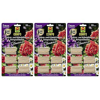 Sparset: 3 × COMPO شرفة والنباتات بوعاء الأسمدة العصي مع جوانو، 30 قطعة