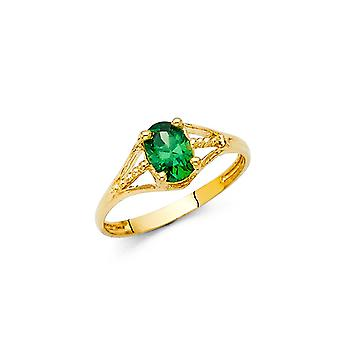 14k Yellow Gold CZ Cubic Zirconia Gesimuleerde Diamond Mei Boys and Girls Ring Size 3 - 1,1 Gram