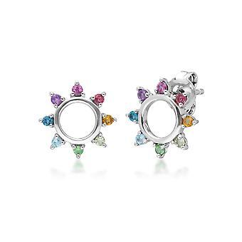 Rainbow Sunburst Stud Earrings in Sterling Silver 270E031901925